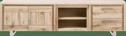 lowboard 220 cm - 2-deuren + 2-laden + 2-niches - rvs