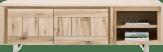 lowboard 200 cm - 2-deuren + 2-niches - rvs