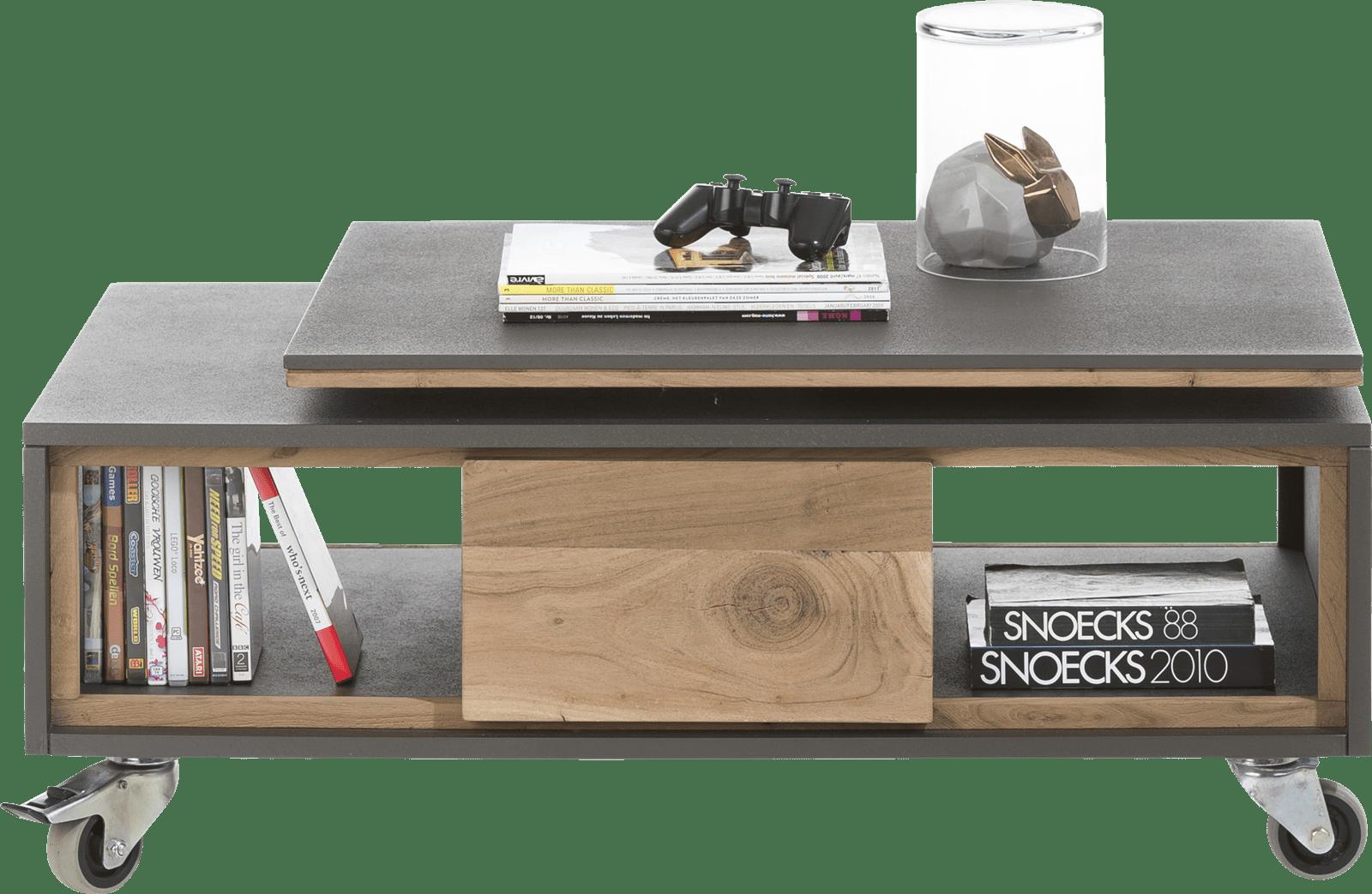 Plateau De Table En Pierre Naturelle cenon table basse 100 x 60 cm + 2-niches avec plateau tournant