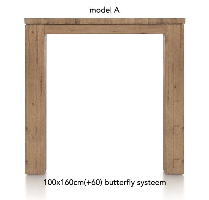 A La Carte - uitschuif-bartafel 160 (+ 60) x 100 cm - aad