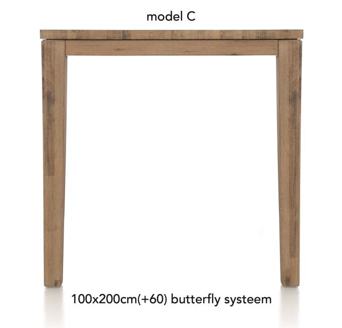A La Carte - uitschuif-bartafel 200 (+ 60) x 100 cm - cor