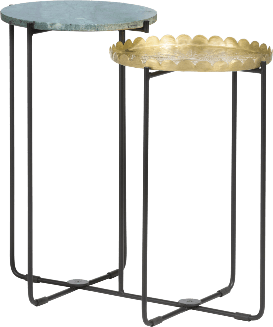 Coco Maison - bijzettafel valerie - hoogte 58 cm - groen & goudkleurig