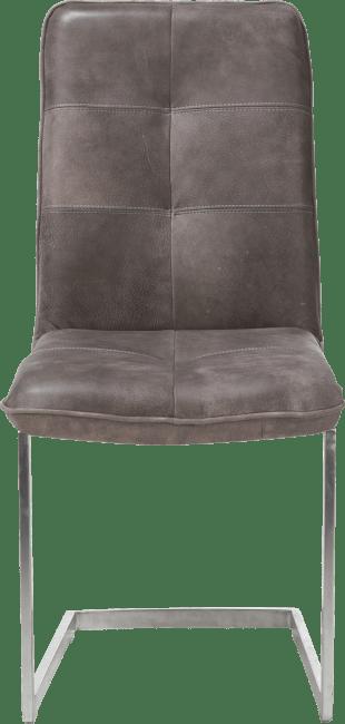 Milan Leder - cuir, chaise - pied traineau inox carre
