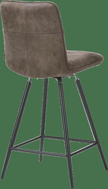 Milan Leder - barstoel met draai-systeem - zwart frame