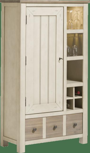 Le Port - bergkast smal 1-deur + 1-lade + 3-niches + 4-wijnvakken (+ led)