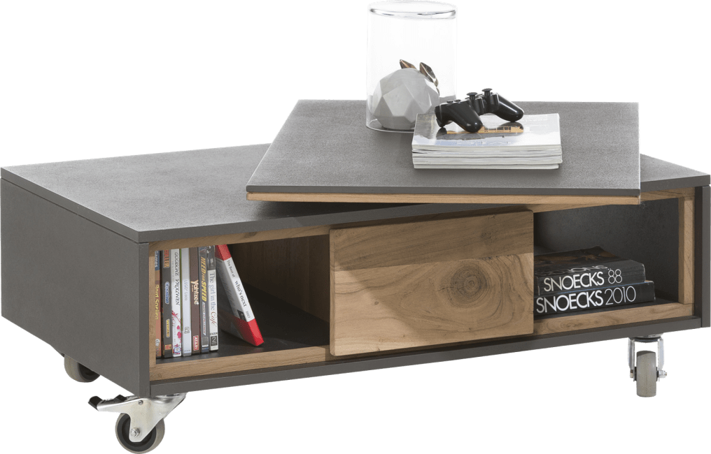 Cenon - table basse 100 x 60 cm + 2-niches avec plateau tournant
