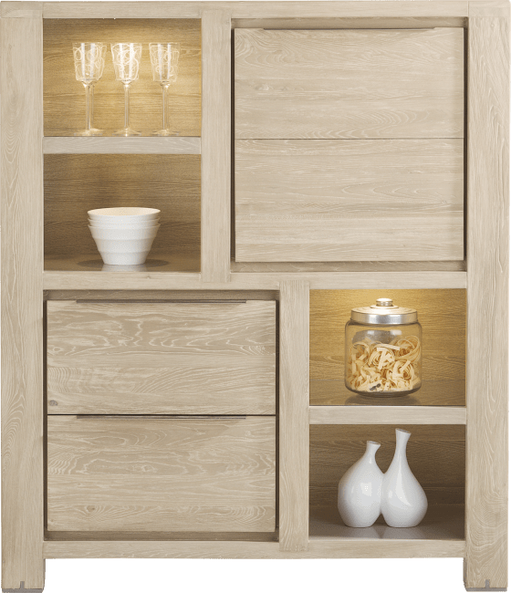 Buckley - bergkast 120 cm - 1-deur + 2-laden + 4-niches (+ led)