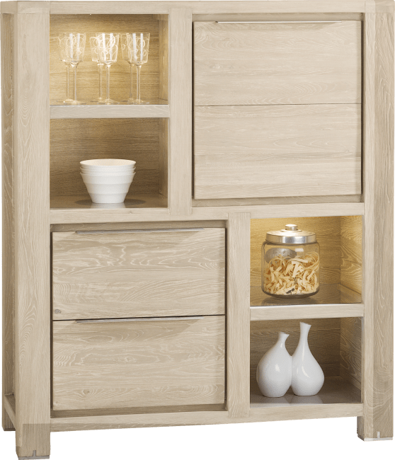 Buckley - armoire 120 cm - 1-porte + 2-tiroirs + 4-niches (+ led)