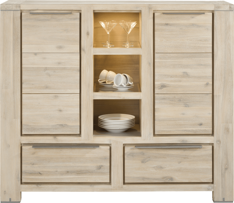 Buckley - highboard 2-portes + 2-tiroirs + 3-niches (+ led)
