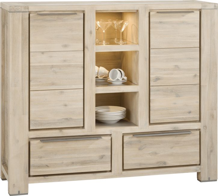 Buckley - highboard 2-tueren + 2-laden + 3-nischen (+ led)
