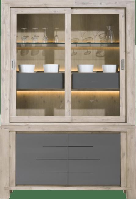 Multiplus - buffet 2-glasdeuren + 2-deuren + 2-manden (+ led)