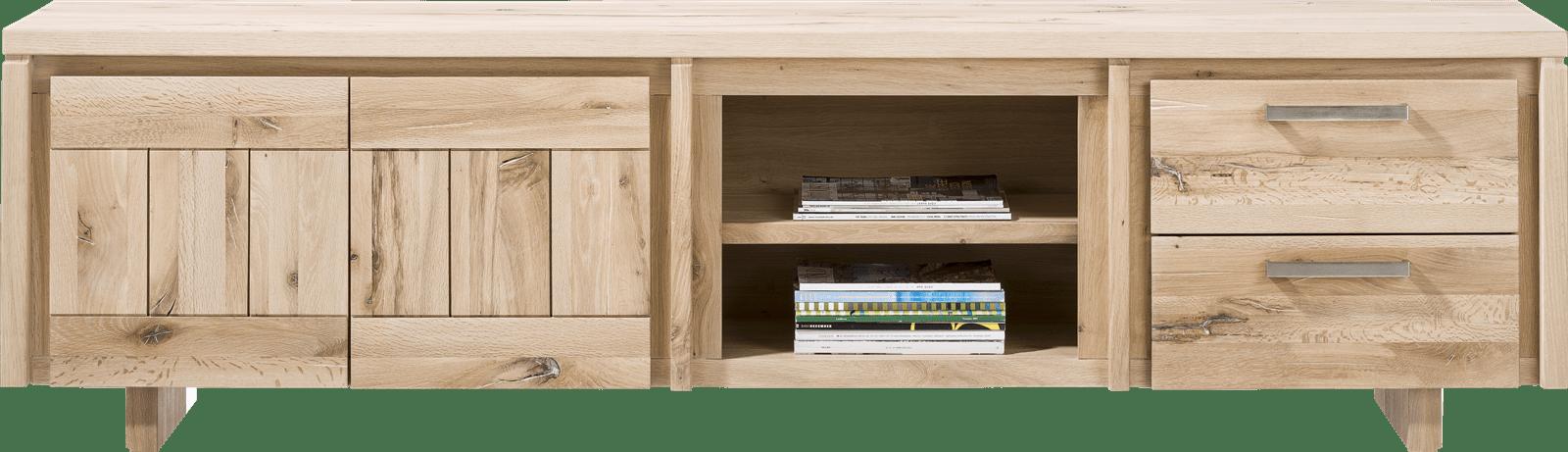 More - lowboard 220 cm - 2-deuren + 2-laden + 2-niches - hout