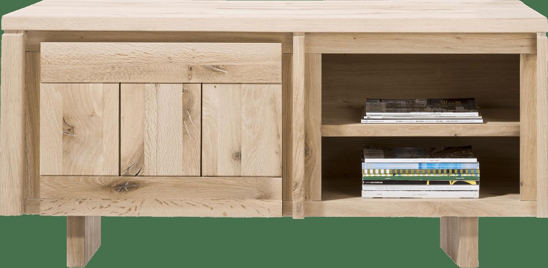 More - lowboard 140 cm - 1-deur + 2-niches - hout