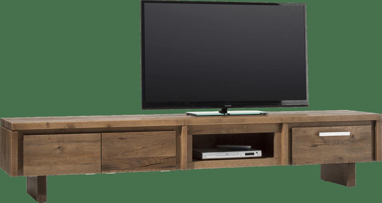 More - tv-dressoir 220 cm - 2-kleppen + 1-lade + 1-niche - hout