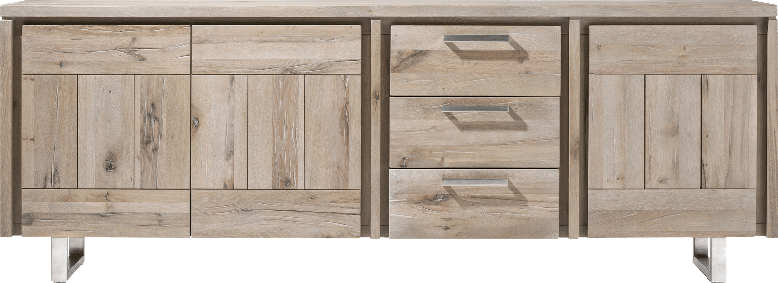 More - dressoir 240 cm - 3-deuren + 3-laden - rvs