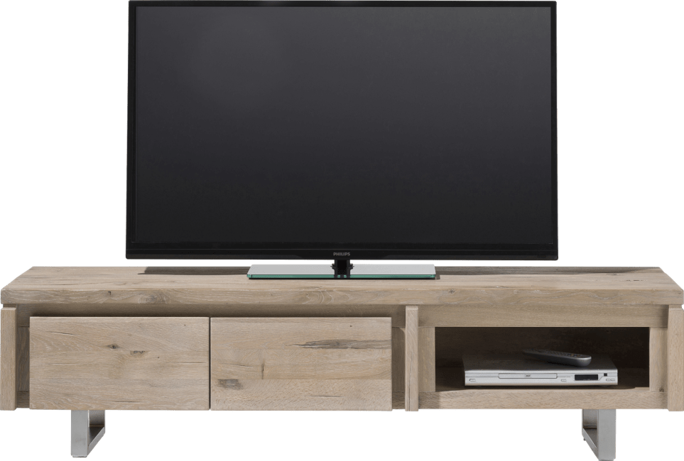 More - tv-dressoir 160 cm - 2-kleppen + 1-niche - rvs