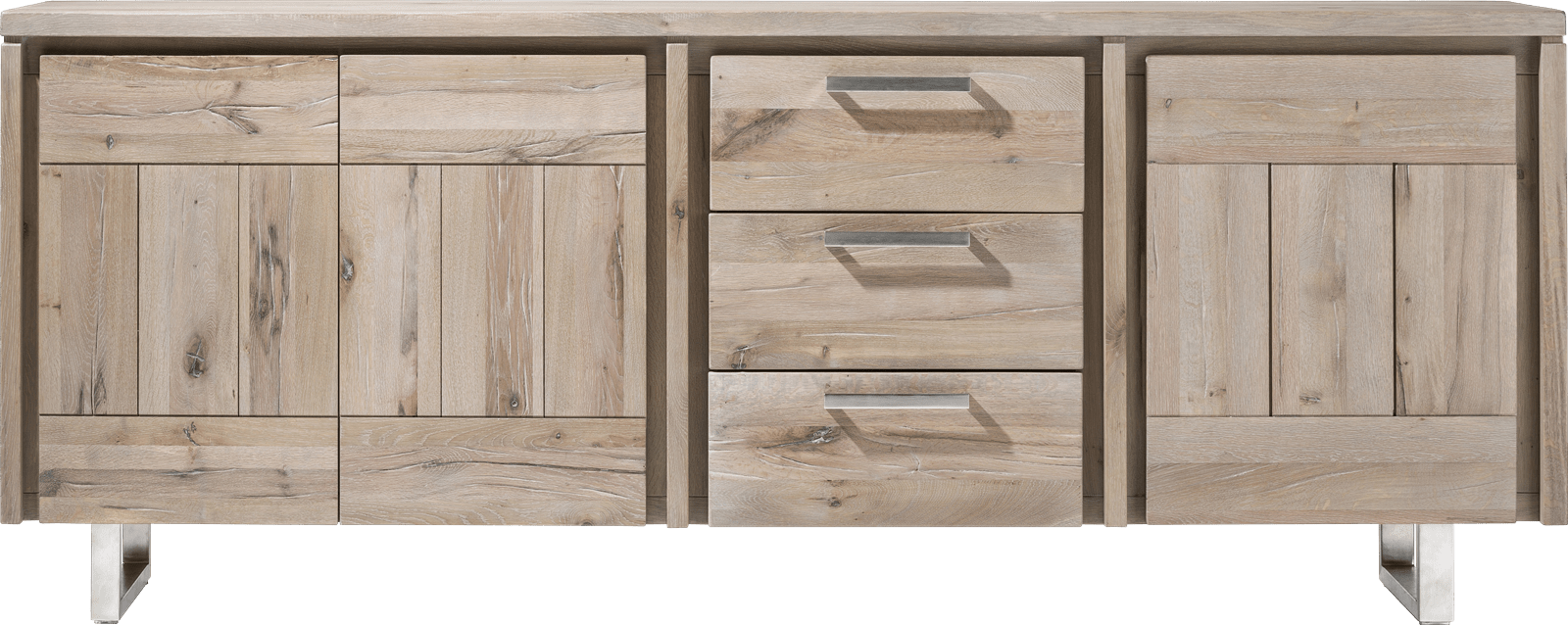 More - dressoir 220 cm - 3-deuren + 3-laden - rvs