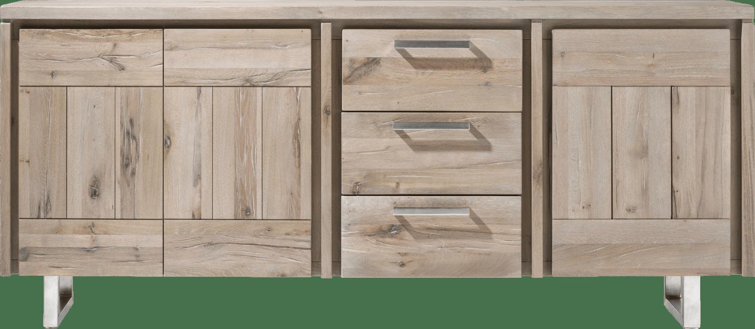 More - sideboard 200 cm - 3-tueren + 3-laden - edelstahl