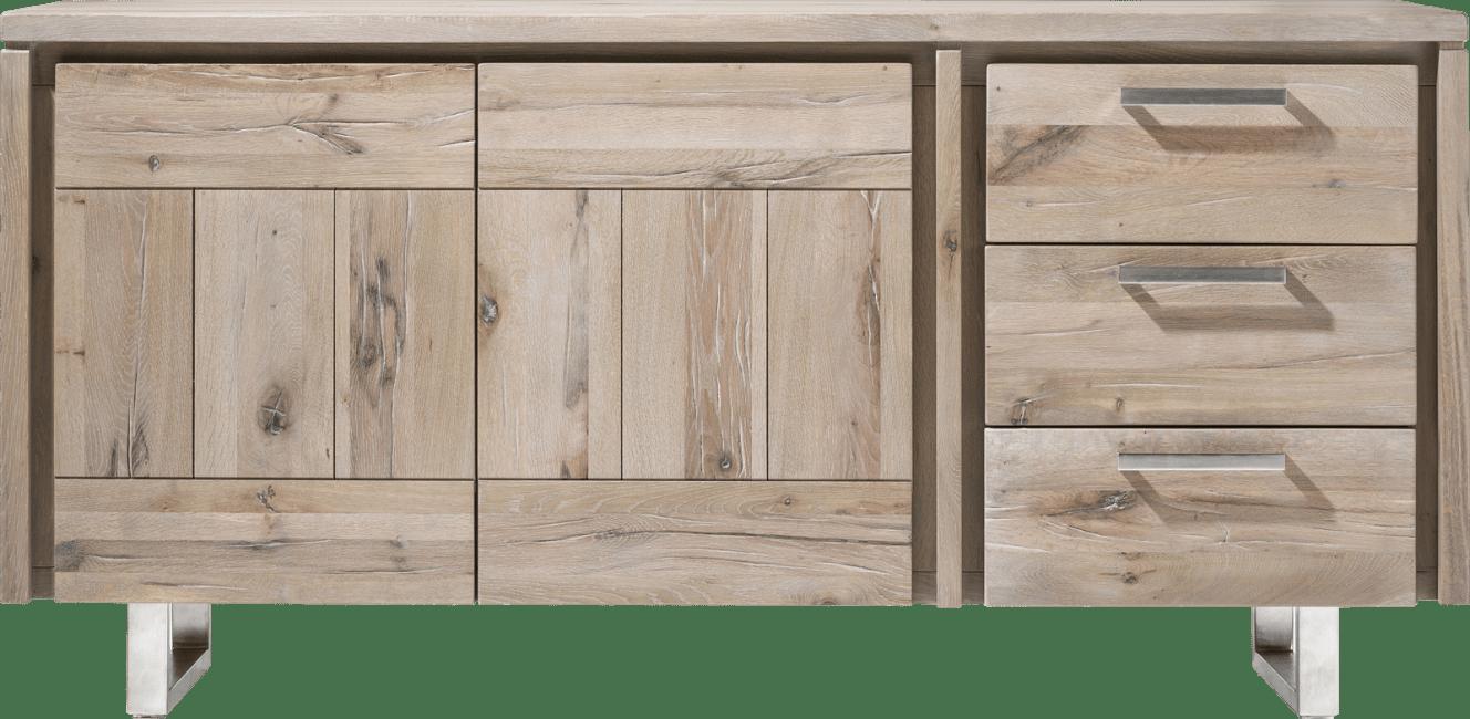 More - dressoir 180 cm - 2-deuren + 3-laden - rvs