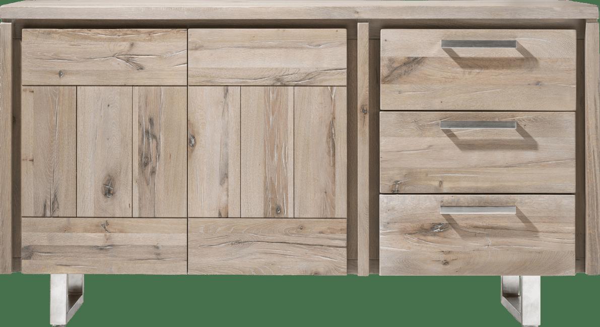 More - dressoir 160 cm - 2-deuren + 3-laden - rvs