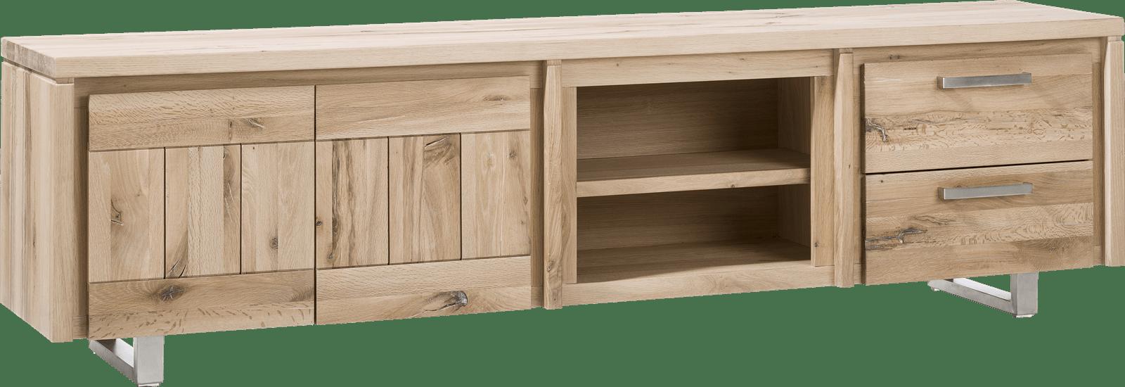 More - lowboard 220 cm - 2-deuren + 2-laden + 2-niches - rvs