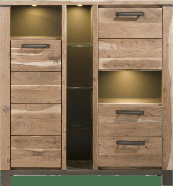Falster - bergkast 130 cm - 2-deuren + 2-laden + 6-niches (+ led)