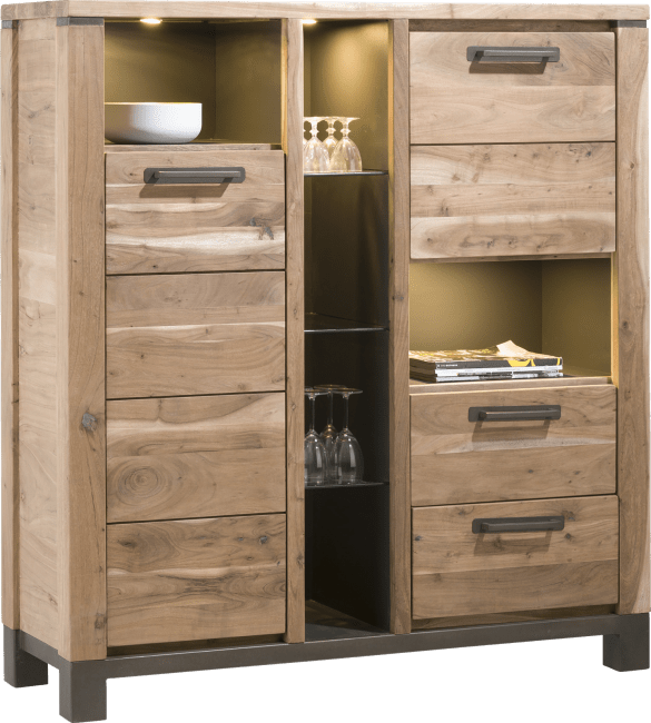 Falster - armoire 130 cm - 2-portes + 2-tiroirs + 6-niches (+ led)