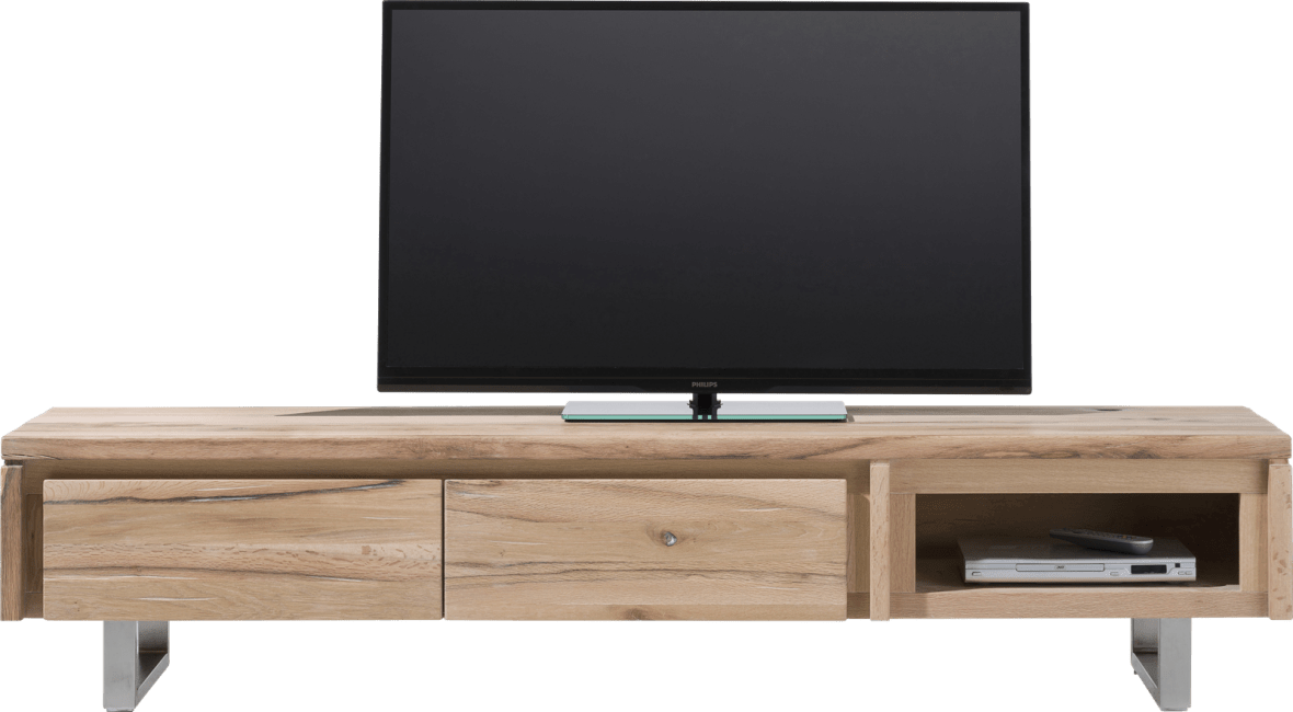 More - tv-dressoir 200 cm - 2-kleppen + 1-niche - rvs