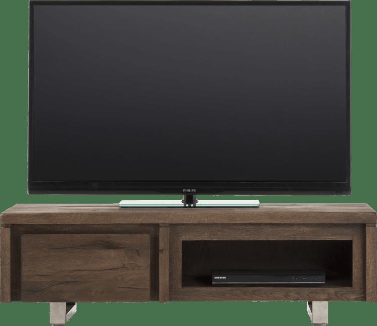 More - tv-sideboard 120 cm - 1-klappe + 1-nische - edelstahl