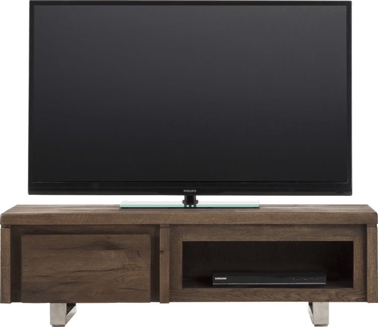 More - tv-dressoir 120 cm - 1-klep + 1-niche - rvs