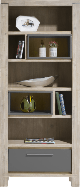Multiplus - bibliotheque 80 cm - 1-tiroir + 7-niches