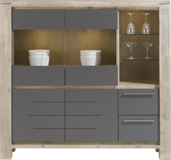 Multiplus - highboard breed 2-glasdeuren +2-deuren+2-laden + 3-niches(+led)