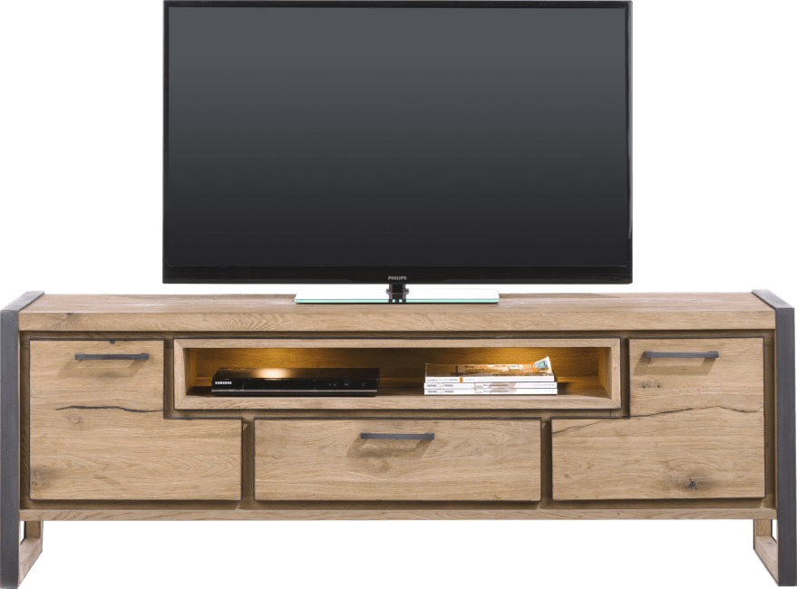 Metalo - lowboard 170 cm - 2-deuren + 1-lade + 1-niche (+ led)