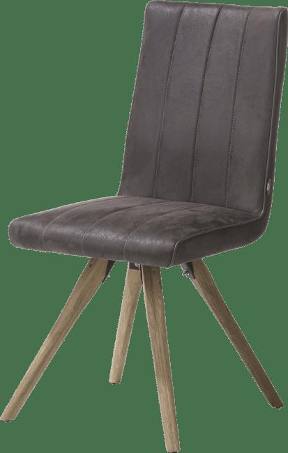 Elza - eetkamerstoel - houten frame - stof leopard antraciet