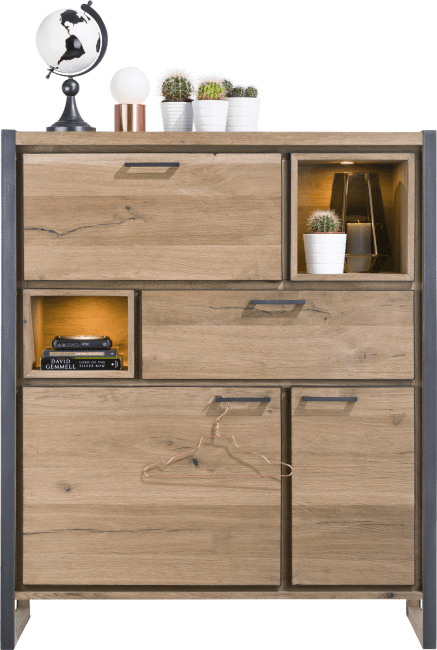 Metalo - highboard 2-portes + 1-tiroir + 1-porte abattante + 2-niches (+led)