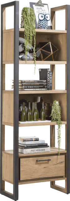 Metalo - bibliotheque 65 cm - 1-tiroir + 5-niches