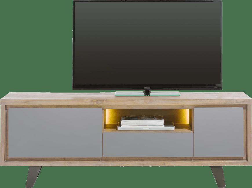 Box - lowboard 170 cm 1-porte + 1-tiroir +1-porte rabattante +1-niche (+led)