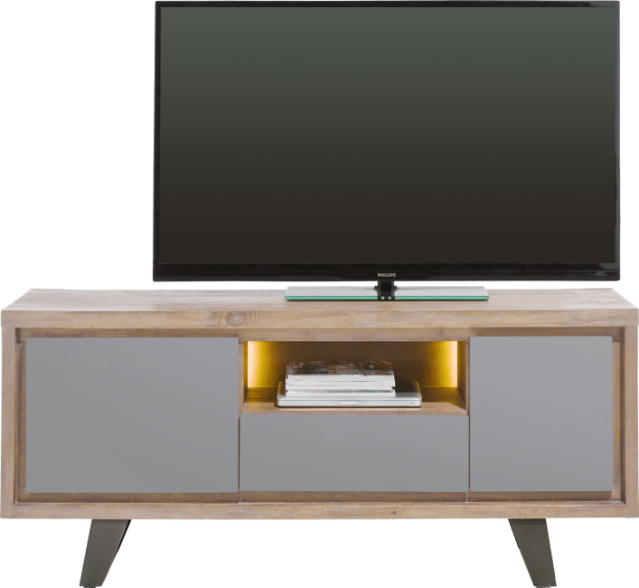 Box - lowboard 140 cm 1-porte + 1-tiroir +1-porte rabattante +1-niche (+led)