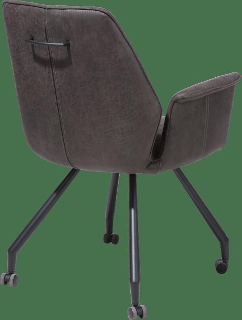 John - fauteuil - cadre noir + roulettes - tissu secillia