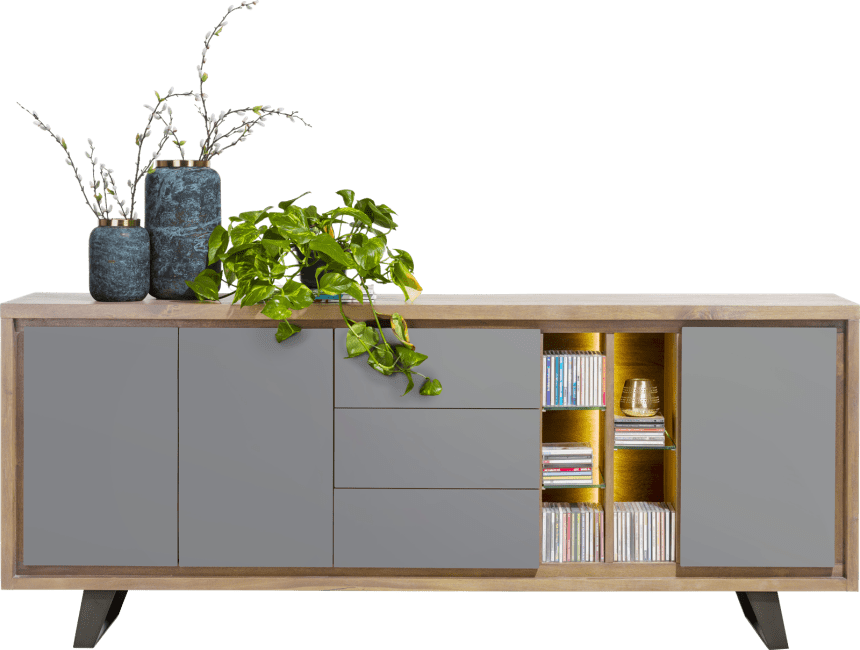 Box - sideboard 210 cm - 3-tueren + 3-laden + 5-nischen (+ led)