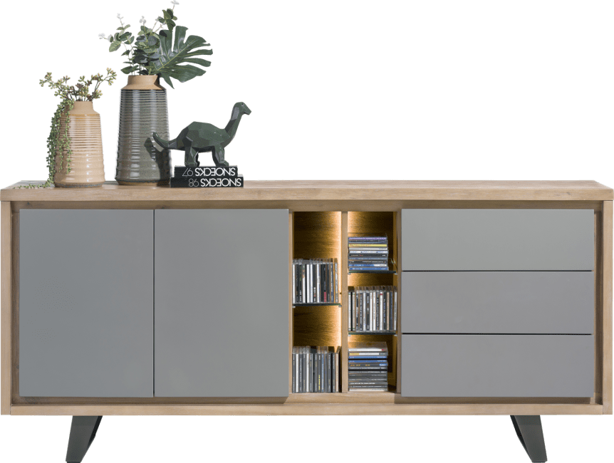 Box - sideboard 190 cm - 2-tueren + 3-laden + 5-nischen (+ led)
