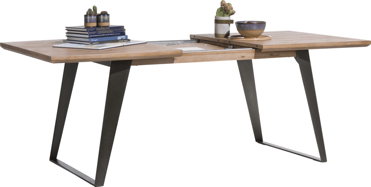 Box - table a rallonge 190 (+ 60) x 100 cm - pied carre