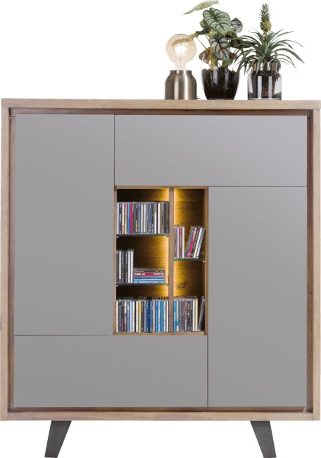 Box - armoire 125 cm 2-portes +1-tiroir +1-porte rabattante +5-niches (+led)