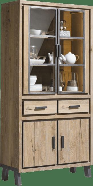 Vitoria - vitrine 100 cm - 2-portes en verre + 2-portes + 2-tiroirs (+ led)