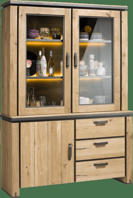 Farmland - vaisselier 150 cm - 1-porte + 2-portes de verres + 3-tiroirs +led