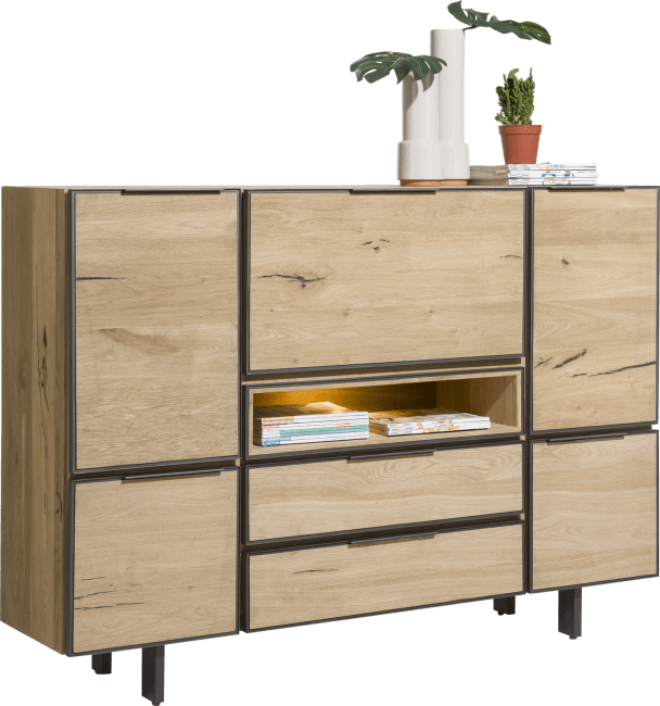 Pedro - highboard 170 cm - 4-tueren + 2-laden + 1-klappe + 1-nische (+ led)