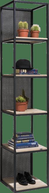 Vincent - rek 5-niches +5-legplanken +3 verplaatsbare metalen panelen-217 cm