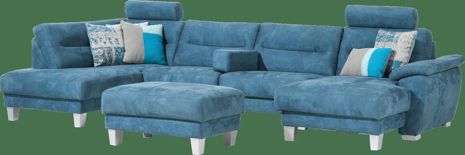 Palio - longchair rechts + 3-zits zonder armen + ottomane links