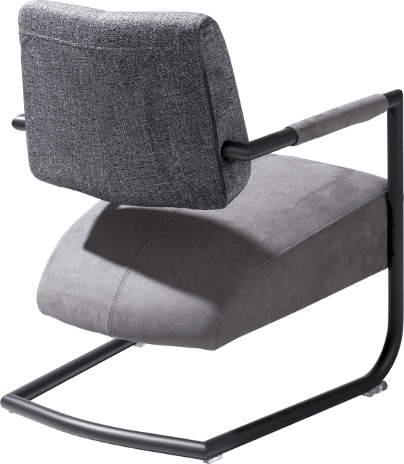 Zane - fauteuil metalen frame zwart + combi kibo/fantasy