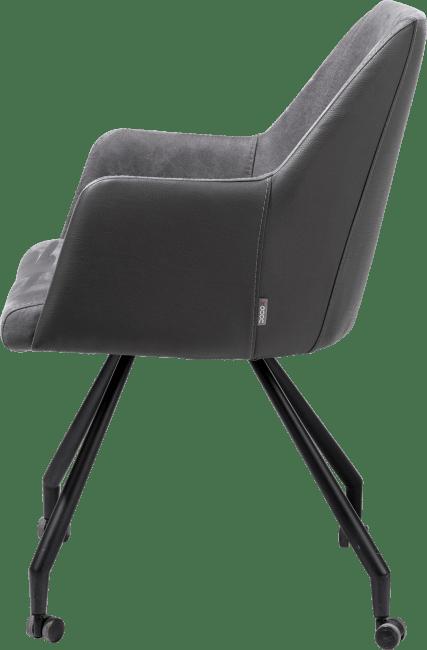 Giuliette - fauteuil 4-pieds + roulettes - noir - combinaison kibo/tatra